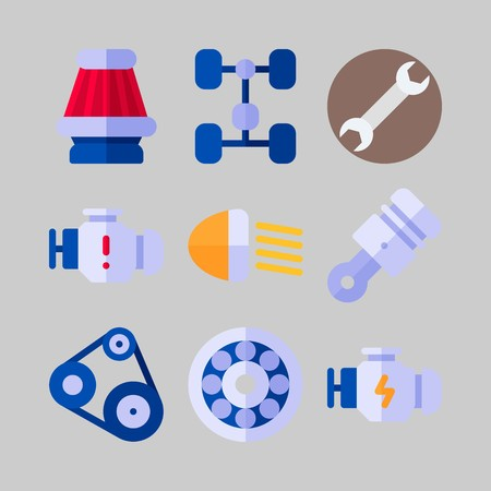 icon set about Car Engine. with car lights, air filter and belt