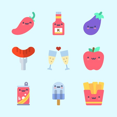 Icons about Food with eggplant, soda, fries, ketchup, toast and icepop