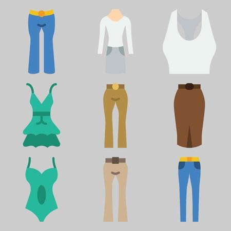 Icon set about Women Clothes. 矢量图像