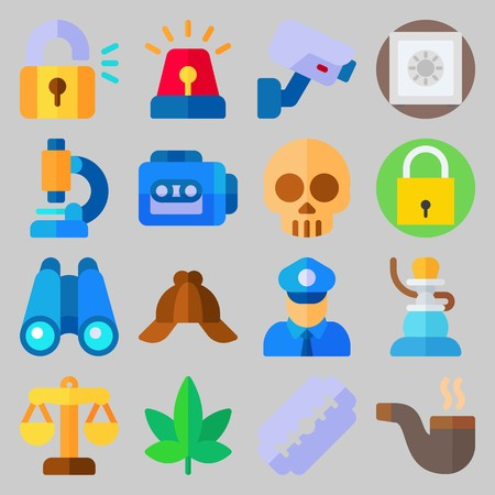 icon set about Crime Investigation. with shisha, safe and skull Illustration
