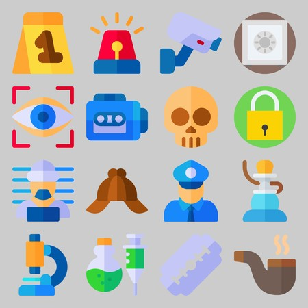 icon set about Crime Investigation. with microscope, safe and prisoner