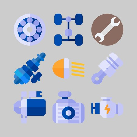 Icon set about Car Engine with distribution, chassis and engine