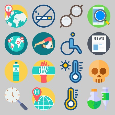 icon set about Medical. with worldwide hospital, skull and sunglasses Иллюстрация