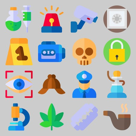 icon set about Crime Investigation. with cap, policeman and shisha Vectores