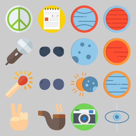 icon set about Hippies. with pipe, victory and planet