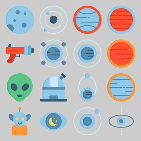 icon set about Univerce. with planet, observatory and alien