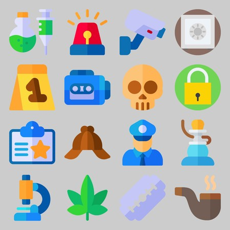 icon set about Crime Investigation. with siren, security camera and recorder