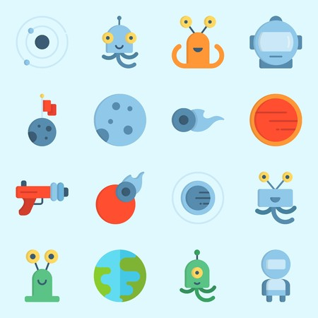 icons set about Universe. with comet, astronaut, planet, moon, alien and orbit Illustration