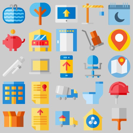 icon set about Real Assets. with transportation , wc and wheelbarrow