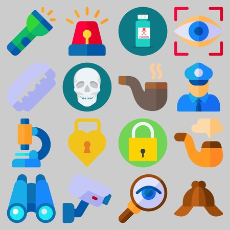Icon set about Crime Investigation with keywords microscope, siren, policeman, binoculars, skull and cap