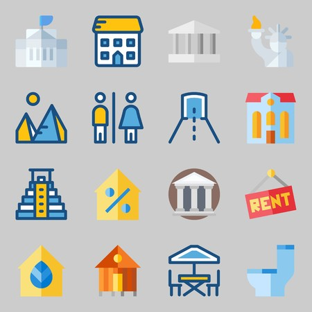 icons set about Construction. with percentage, monumental, pyramid, terrace, real estate and for rent
