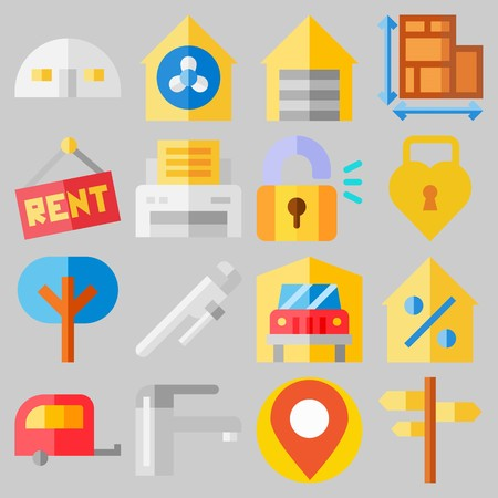 Icon set about Real Assets with keywords maps and flags, ventilation, real estate, location, motor home and percentage Illustration