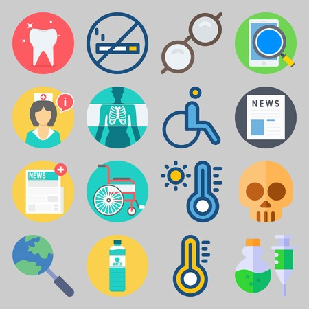 icon set about Medical. with hot, news and no smoking