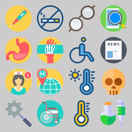icon set about Medical. with x-ray, stomach and search
