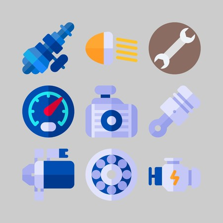 icon set about Car Engine. with distribution, motor and speedometer