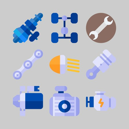 icon set about Car Engine. with chassis, wrench and starter