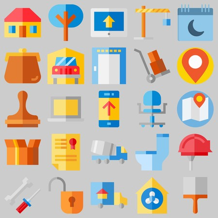 icon set about Real Assets. with home, work tools and real estate Stock Illustratie
