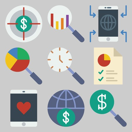 Icon set about Marketing with keywords pie chart, smartphone, search, internet and target