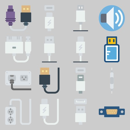 icon set about Connectors Cables. with usb, socket and usb cable