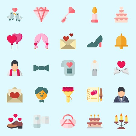 icons set about Wedding. with love birds, bouquet, priest, camcorder, candle and candelabra Illustration