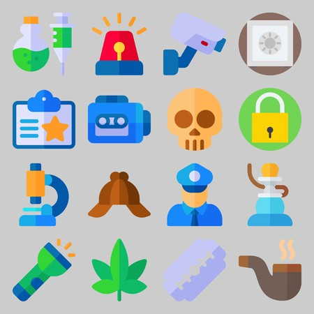 icon set about Crime Investigation. with skull, flashlight and pipe