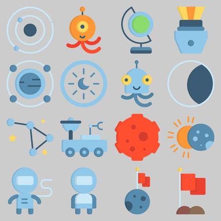 Icon set about Universe with keywords eclipse, astronaut, earth glope, flag, moon rover and constellation