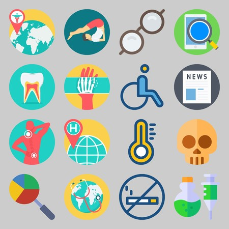 icon set about Medical. with smartphone, newspaper and thermometer