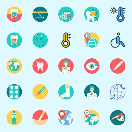 icons set about Medical. with yoga, surgery, water, teeth, surgeon and tablets