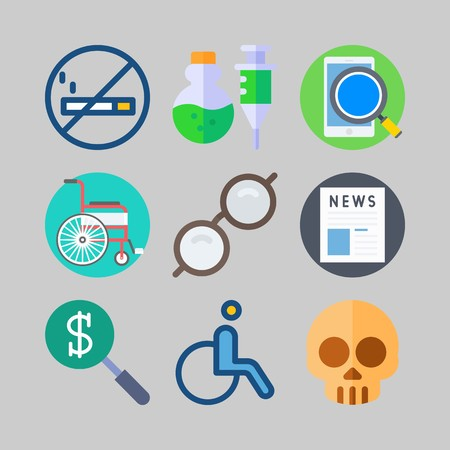 icon set about Medical. with no smoking, smartphone and money search