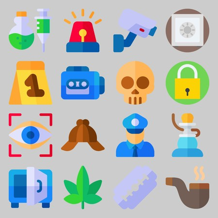 icon set about Crime Investigation. with security camera, skull and shisha