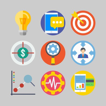 icon set about marketing with line chart, target and lamp Illustration