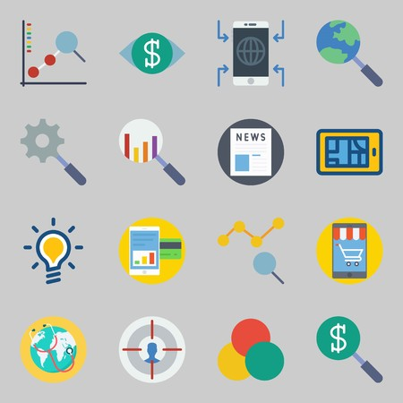 Icons set about Marketing. with idea, newspaper and search Illustration
