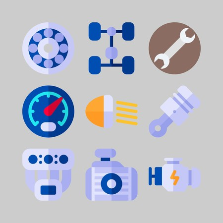 icon set about Car Engine. with speedometer, car lights and engine Illustration