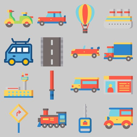 Icon set about Transportation with keywords car, sport  car, road, stick, van and scooter