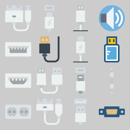 icon set about Connectors Cables. with phone usb, usb cable and volume