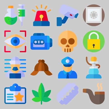 icon set about Crime Investigation. with security camera, marijuana and padlock