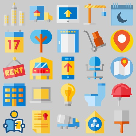 icon set about Real Assets. with seventeen, up and work tools