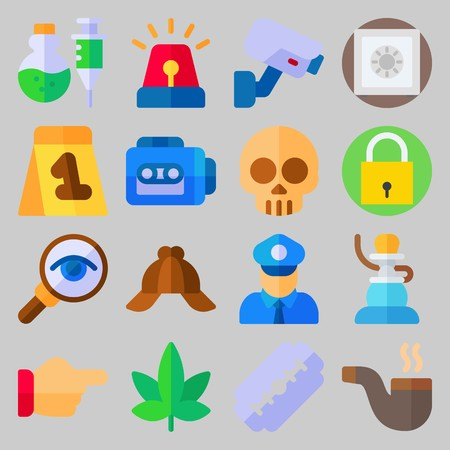 icon set about Crime Investigation. with point , skull and evidence