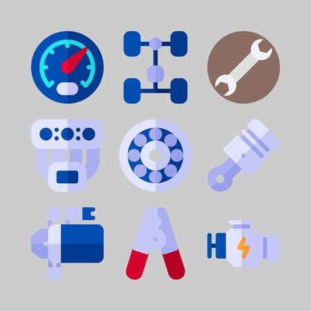 icon set about Car Engine. with engine, piston and manifold