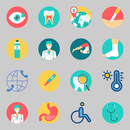 Icons set about Medical. with stethoscope, yoga and thermometer