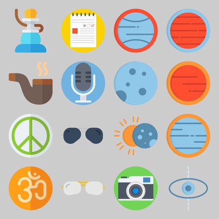 Icon set about Hippies with planet, om and blank Illustration