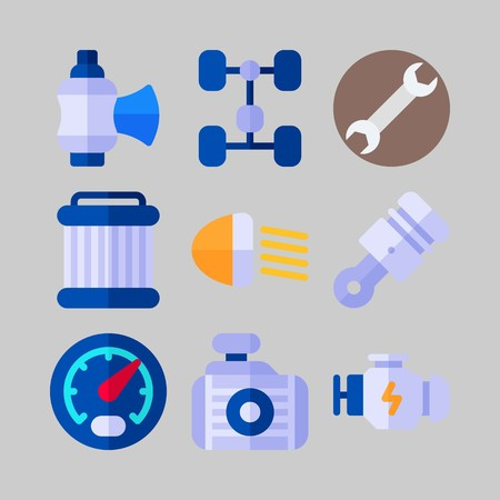 icon set about Car Engine. with car lights, piston and wrench