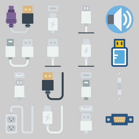 icon set about Connectors Cables. with cable, socket and volume
