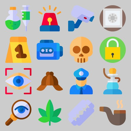 icon set about Crime Investigation. with poison, cap and security camera