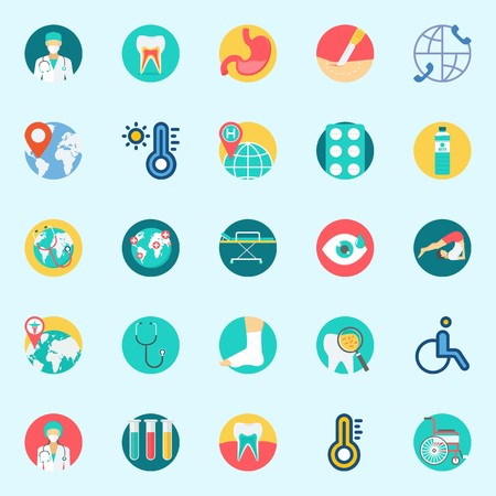 icons set about Medical. with water, tablets, location, thermometer, surgery and teeth