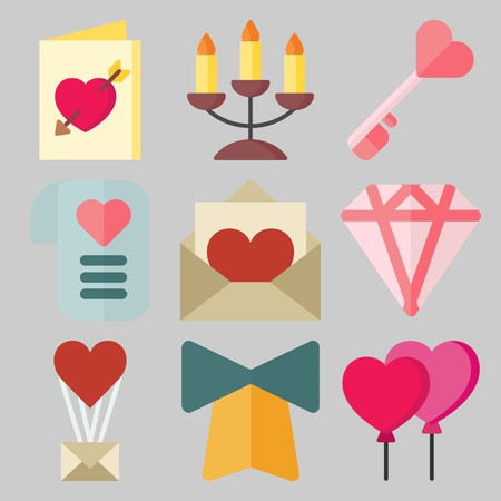 Icon set about Wedding with keywords bell, key, candelabra, diamond, balloons and wedding invitation