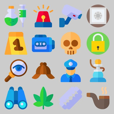 icon set about Crime Investigation. with magnifying glass, pipe and binocular