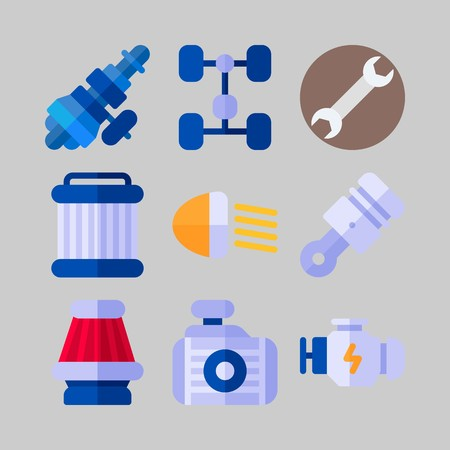 icon set about Car Engine. with piston, wrench and distribution
