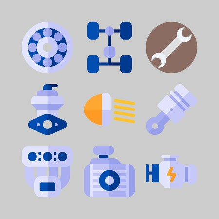 icon set about Car Engine. with wrench, wheel and chassis