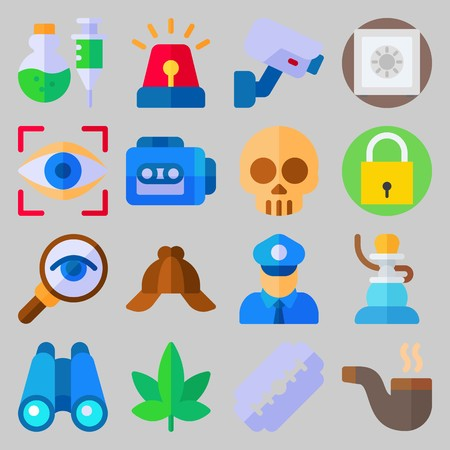icon set about Crime Investigation. with safebox, razor and poison